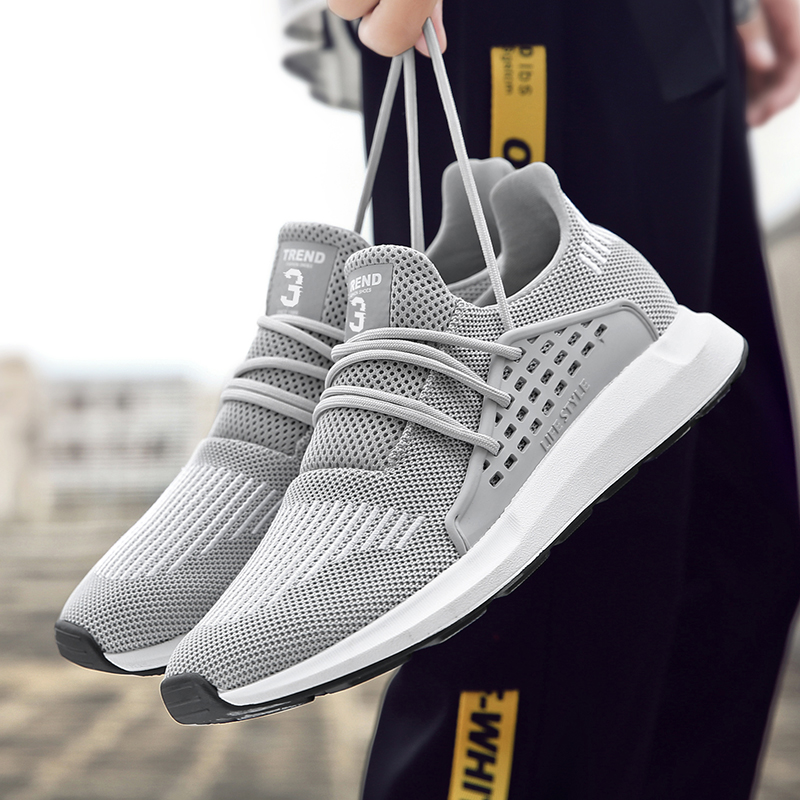 2018 Running Shoes For Men Trainers Breathable Male Mesh Shoes Summer Adult Athletic Shoes Gray/Black Brand Designer Sneakers