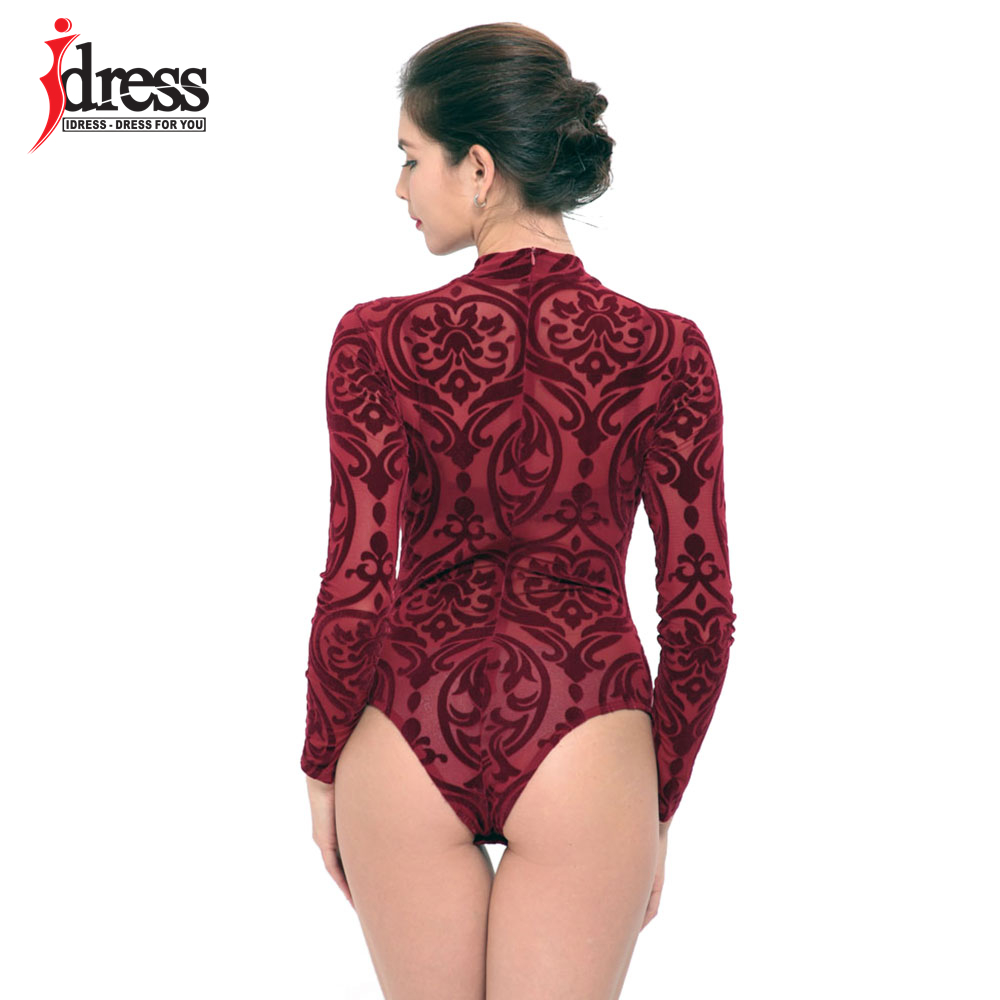 IDress 2017 New Arrival BlackBlue Red Macacao Feminino Mesh Shorts Femme Playsuit Overalls for Woman Long Sleeve Sexy Bodysuit (9)