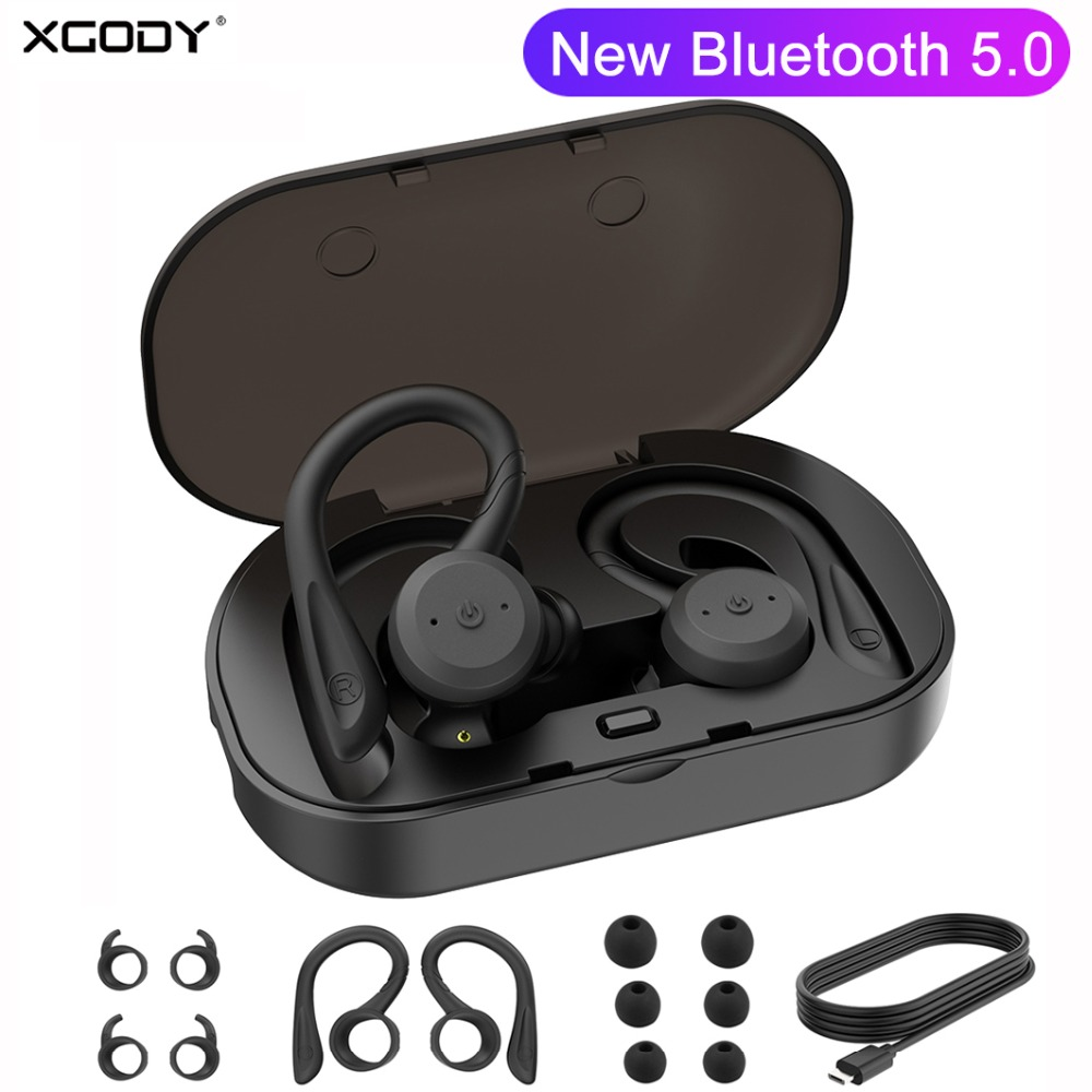 XGODY BE1018 Wireless Headphones Bluetooth 5 0 Noise Cancelling TWS Earbuds With Charging Box Mic Headset Earphone For Phone