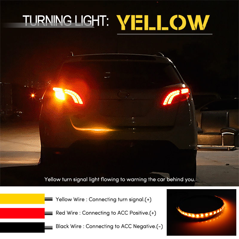 OKEEN car-styling yellow turn signal led trunk strip led Tailgate strip Light flash foloow LED Light Bar Reverse car Tail trunk