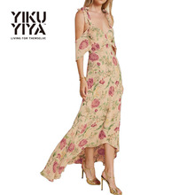 YIKUYIYA Summer Dress 2017 Women Clothing Sexy Vestido Back Cross Strap Dresses Rural Casual Floral Print Chiffon Maxi Dress