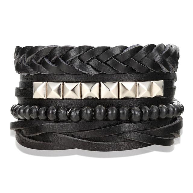 Лидер продаж 4 шт (3 шт) 1 комплект браслет в стиле панк мужской