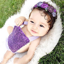 2016 NEW ARRIVAL Newborn Baby Girl Clothes Ruffle Sunsuit Outfit Sequined Backless Romper Playsuit