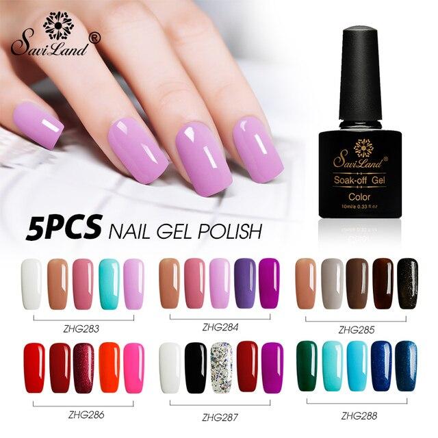 Saviland 5pcs Colorful Hybrid Varnishes Glitter Gel Nail Polish Set ...