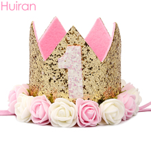 HUIRAN Baby First Birthday Girl Party Happy Banner 1 Year Decor 1st Decorations Shower