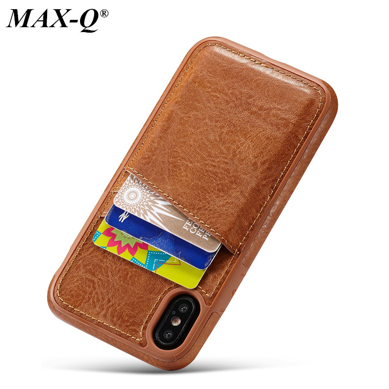 MAX-Q PU Leather case for iPhone X 8 7 6 6s plus case luxury Back Cover Card Hol