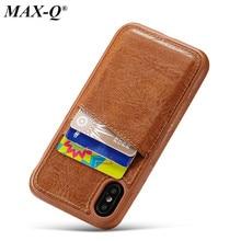 MAX-Q PU Leather case for iPhone X 8 7 6 6s plus case luxury