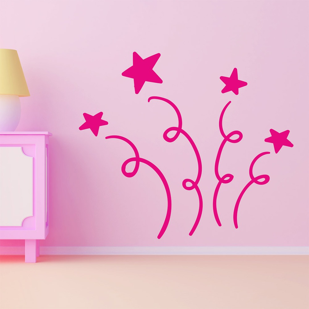 Stars Pattern Wall Decal Kids Nursery Rooms Wall Vinyl Stickers For Baby Girls Boys Room Interior Modern Decor Art Mural DIYSY40 in Wall Stickers from Home Garden