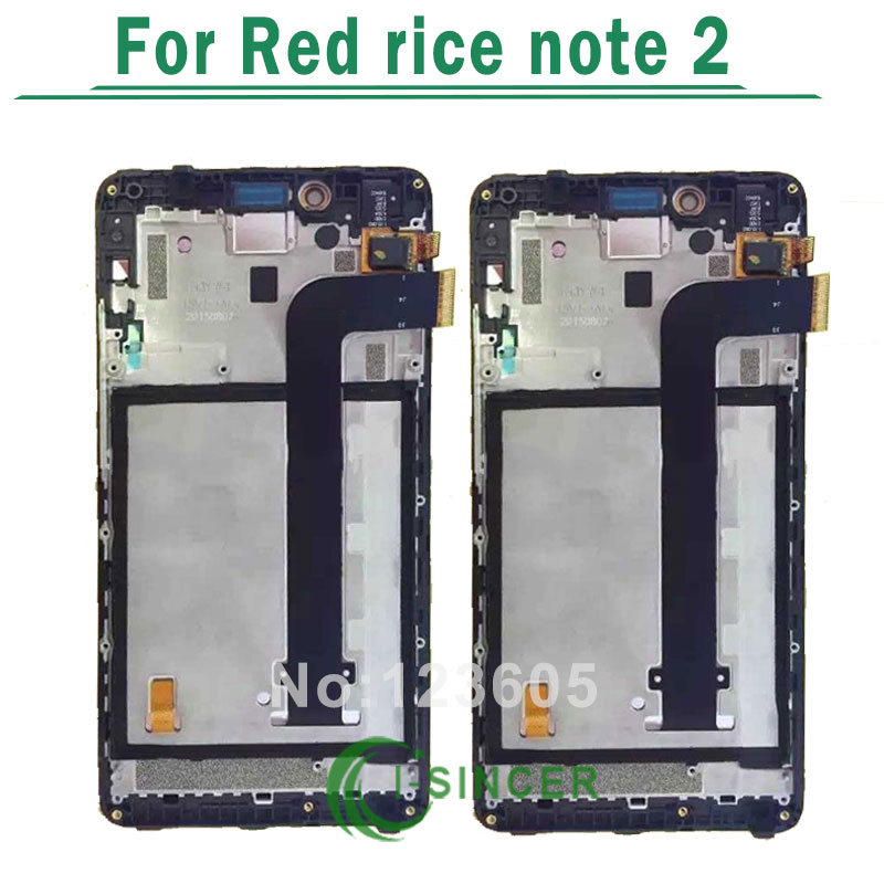 1/PCS For xiaomi hongmi redmi red note 2 LCD Display screen and touch Digitize Assembly with frame black Free shipping