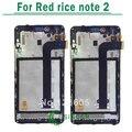 1/pcs para xiaomi hongmi redmi nota vermelha 2 display lcd e tela de toque digitize assembléia com frame preto frete grátis