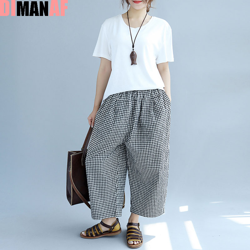 Summer Plus Size Women Plaid Print   Wide     Leg     Pants   Harem   Pants   Elegant Elastic Fashion Loose Large Size Korea Trousers Pocket