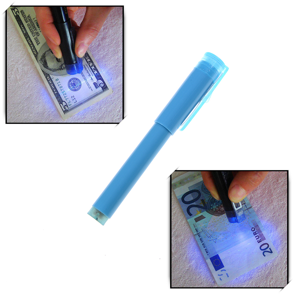 2 In1 UV light Counterfeit Fake Forged Bank Note Money Tester Detector Pen Pound