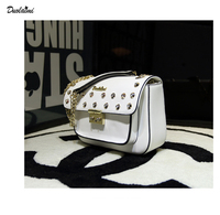 DuoLaiMi 2017 New Arrival Embroidery Rivet Candy Color Diamond PU Flap Cover Women S Shoulder Messenger
