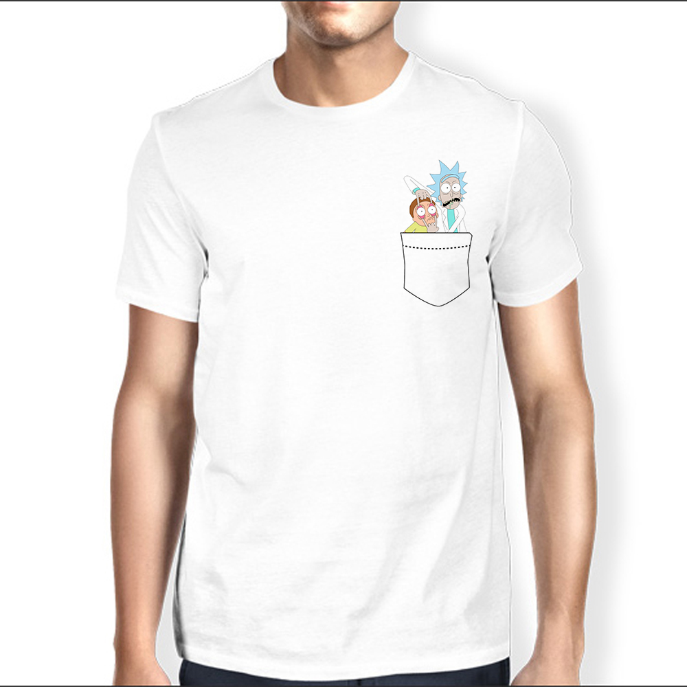 cute ricky morti in pocket funny anime geek T shirt MEN new white Casual tshirt homme Plus Size t-shirt No glue feeling print