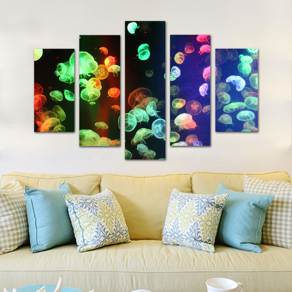 Unframed HD Print 5 Canvas Art Painting Jellyfish Group Living Room Decoration Spray Painting Mural Unframed Free Shipping
