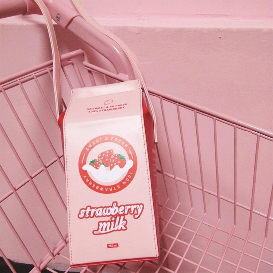 Cute Fun Cartoon Printed Letter Strawberry Milk Box Style Leather Bags Women Pu Messenger Shoulder Bag Ladies Mini Crossbody BagCute Fun Cartoon Printed Letter Strawberry Milk Box Style Leather Bags Women Pu Messenger Shoulder Bag Ladies Mini Crossbody Bag