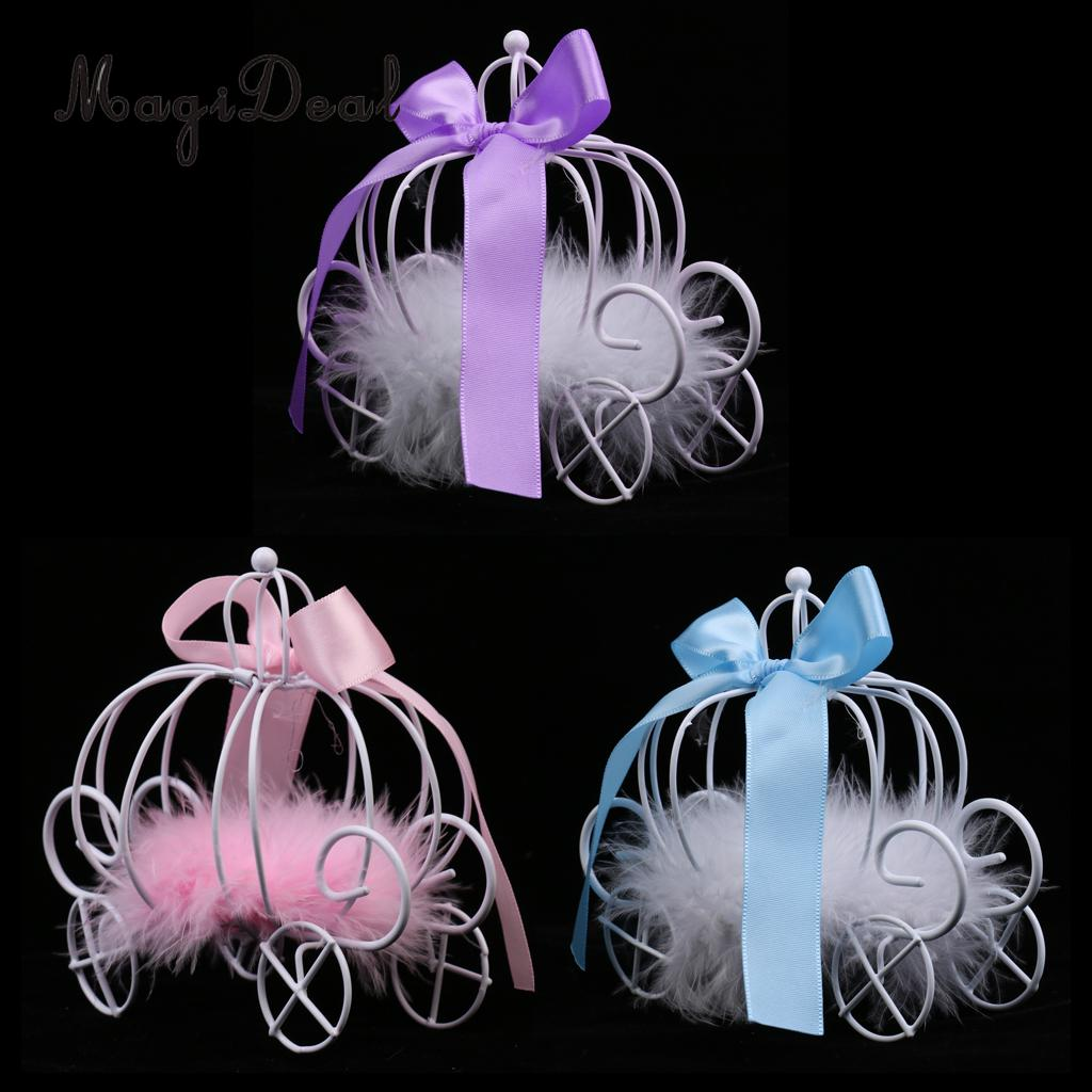 MagiDeal Romantic Metal Pumpkin Carriage Chocolate Candy Boxes & Flower Ribbon For Birthday Wedding Favours Purple/Pink/Blue