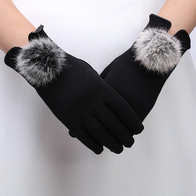 women's winter gloves 2017 genuine fur autumn elegant cotton glove real rabbit fur pompom touch screen driver's gloves mittens