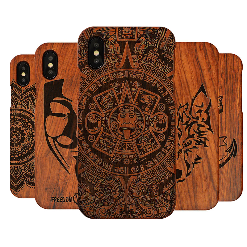 Carved Tiger Dragon Luxury Wood Phone Case For Apple iPhone X XS Max XR 5 5S SE 6 6plus 6S 7 8 Plus Full Wooden Case Cover wood