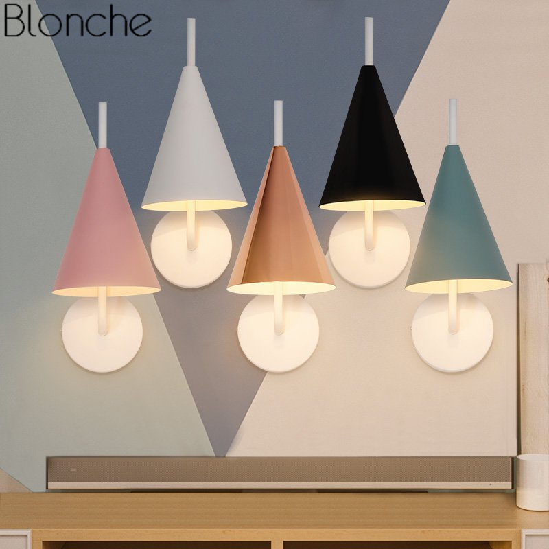 wall lamps for living room french country chairs nordic triangle lamp led sconce bedroom bedside modern light fixtures home decor stair luminaire
