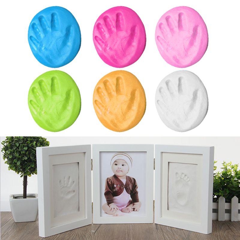 3D Baby Handprint Footprint Newborns Molds Photo Frame For Baby Care Babies Souvenir Casting Newborn Footprint Soft Clay Inkpad