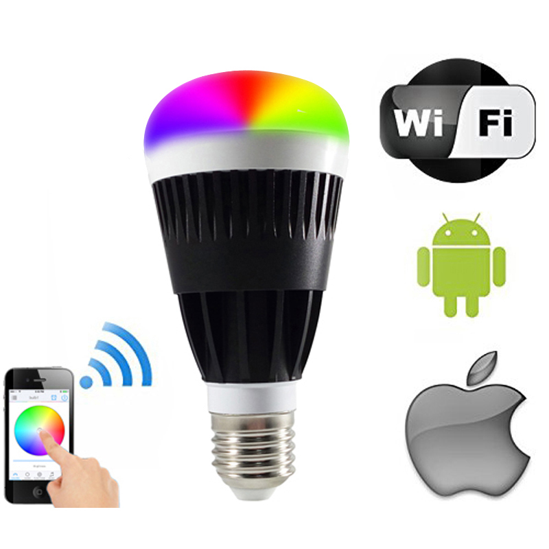 smart home appliances lighting  cellphone controlled wifi LED lamp 10w rgb app handy Bulb Dimmable Multicolored Color Changing wf820 e27 smart phone led wi fi controlled sunrise wake up multicolored color changing disco light sleeping dimmable
