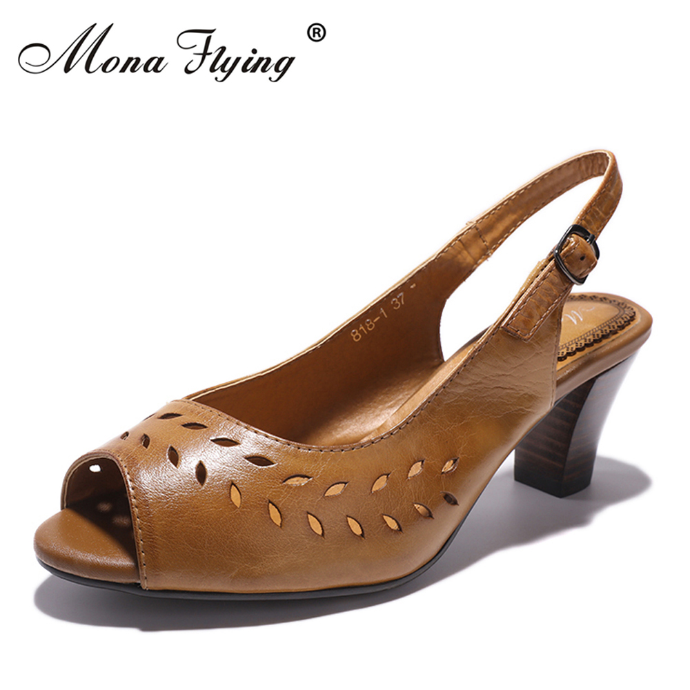 Women Sandals Shoes 2018 Summer Brand Women Genuine Leather High Heel Dress Sandals for Ladies Office Big Szie Shoes Women 818-1 mmnun 2017 boys sandals genuine leather children sandals closed toe sandals for little and big sport kids summer shoes size26 31
