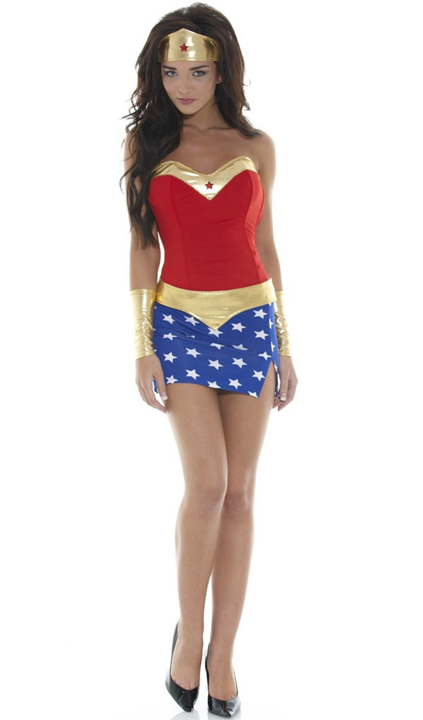 Ensen superman wonder woman costume Halloween costumes for womensexy dress cartoon character costume plus size font