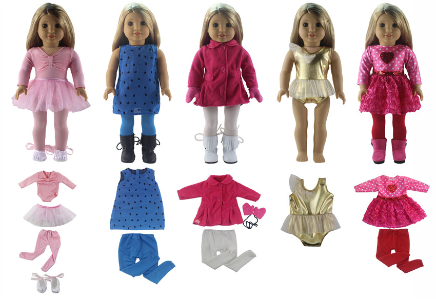 Hot 5 PCS Doll Clothes for 18'' American Girl Bitty Baby Doll Handmade Lovely Student Clothes S16
