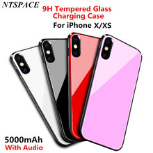 Fashion Ultra Thin Tempered Glass Battery Charger Case For iPhone X XS Power Bank Charging Case External Powerbank Back Cover