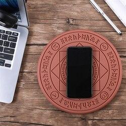 2019 círculo mágico sem fio carregador qi sem fio rápida almofada de carregamento para iphone x xs 8 samsung xiaomi redmi huawei honra telefone