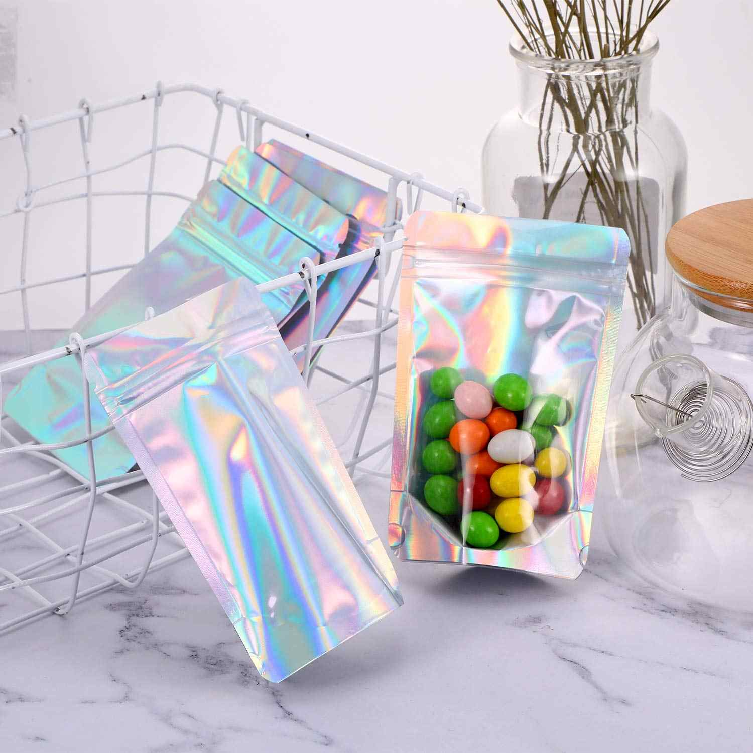 50pcs Laser Aluminum Foil Mylar Zip Lock Pouch Clear Hologram Rainbow Stand Up Zip Lock Plastic Packaging Bag with Tear Notch