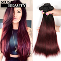 10A Ombre Brazilian Straight Hair Weave Bundles T1B/99J Burgundy Brazilian Hair Straight 3 Bundles Muse Beauty Red Ombre Bundles
