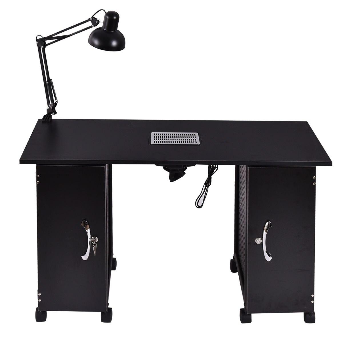 Giantex стол для маникюра станции Черный Сталь Frame Красота мебель для спа салона с ящиками для хранения таблицы ногтя HB84673