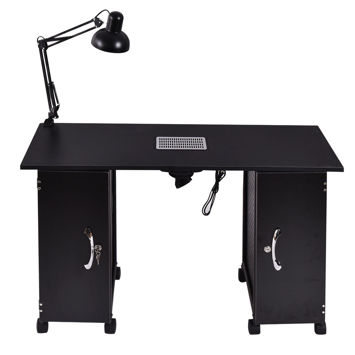Giantex Nail Table Manicure Station Black Steel Frame Beauty Spa Salon Furniture with Storage Drawers Nail Tables HB84673
