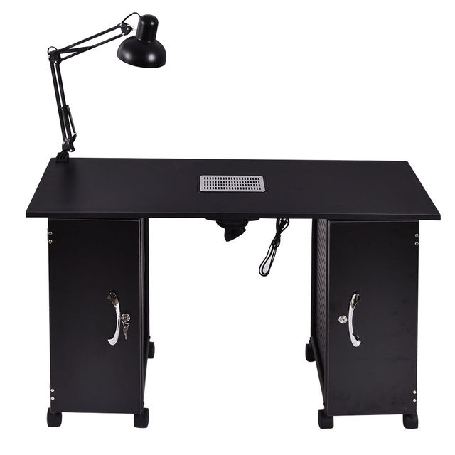 Giantex Nail Table Manicure Station Black Steel Frame Beauty Spa Salon  Furniture With Storage Drawers Nail