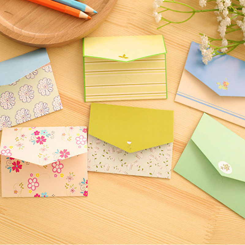 6Pcs/Set Mini Creative Envelope Floral Folding Greeting Card Thank You Card Birthday Christmas Card Envelope Writing Paper Gift