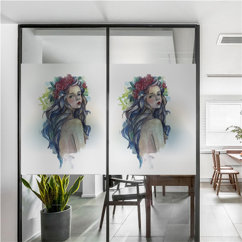 Free Custom Size Decorative Glass Window Film Without Glue Opaque Frosted Window Stickers Foil Girl Bathroom Bedroom XK16