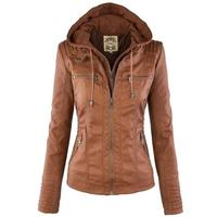Feierhaosi Mùa Xuân Mùa Thu Cộng Với Kích Thước Da Áo Khoác Phụ Nữ Trùm Đầu Faux Leather Jacket Dài Tay Mỏng PU Áo Khoác Da