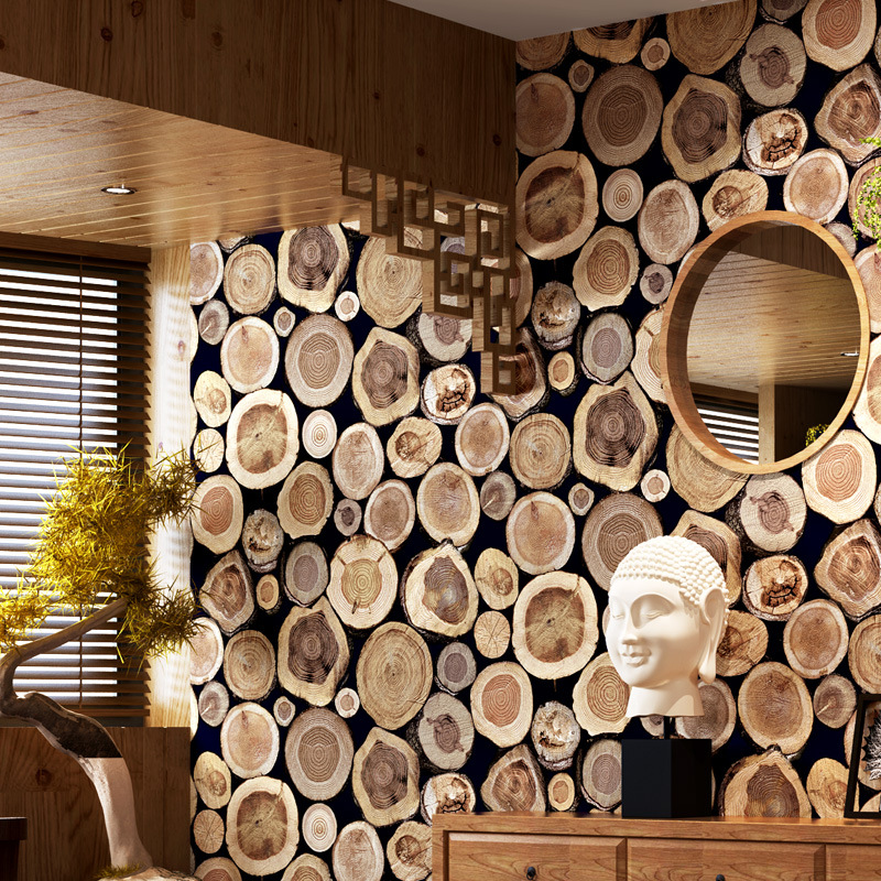 Wood grain Wood pile 3D Retro tree stump wallpaper Entrance restaurant Decoration background wallpaper pvc material wall sticker