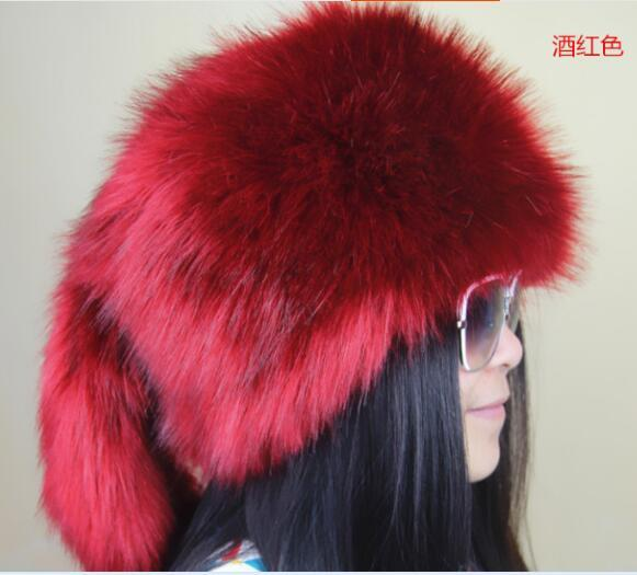 Fox fur hat fur flat Women wool FAUX hat winter WARM hat multicolor hat with tails