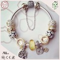 High Quality Popular Luxurious Golden Charm Style 925 Sterling Silver Bracelet For Ladies