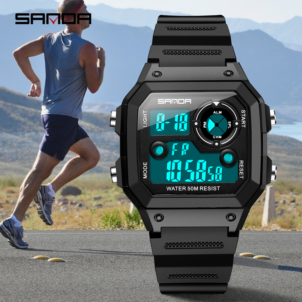Image 3 - SANDA Brand Men Sports Watches Fashion Chronos Countdown Mens Waterproof LED Digital Watch Man Military Clock Relogio MasculinoDigital Watches   -