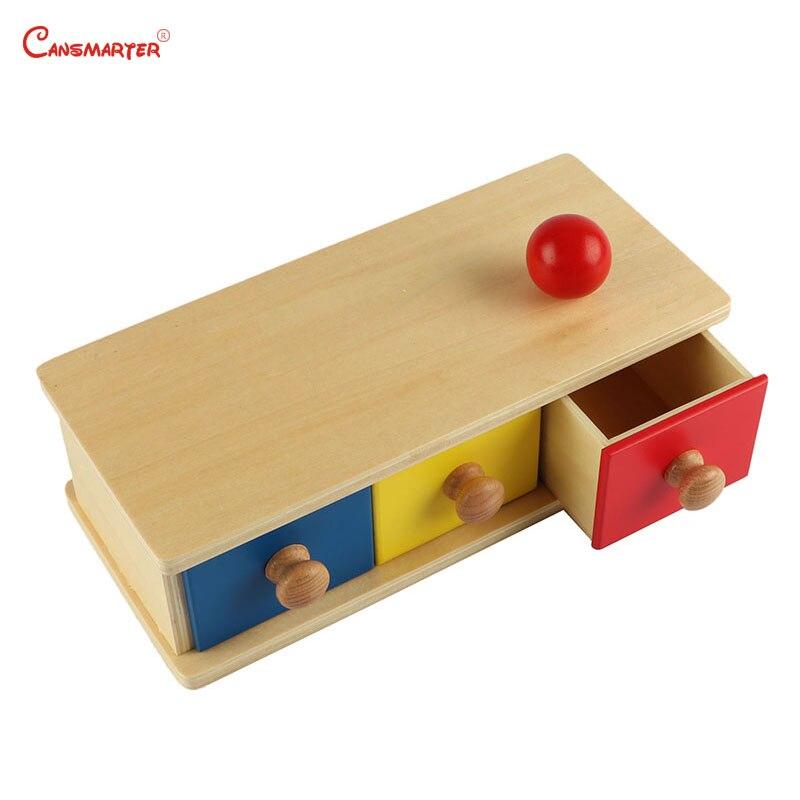 Boîte avec Bacs Montessori Sensorielle Jouets En Bois Rouge Jaune Bleu Rond Mathématiques Jeu D'apprentissage L'éducation Matériaux Jouet Enfants LT001-10