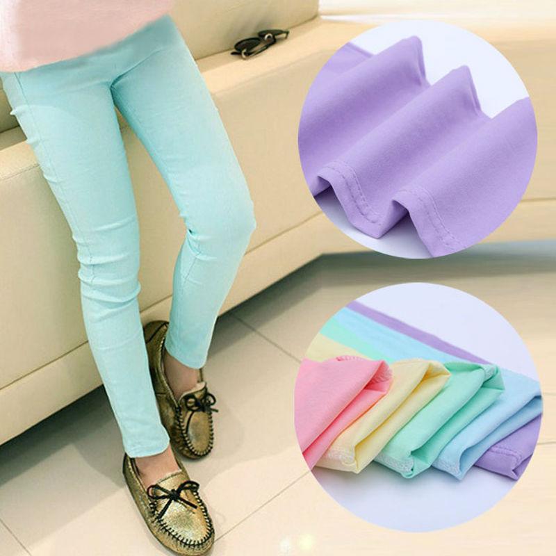 2019 אביב וסתיו מכנסיים לילדים סוכריות צבעוניות בנות מכנסיים תינוקת בגדי ילדים בנות בנות
