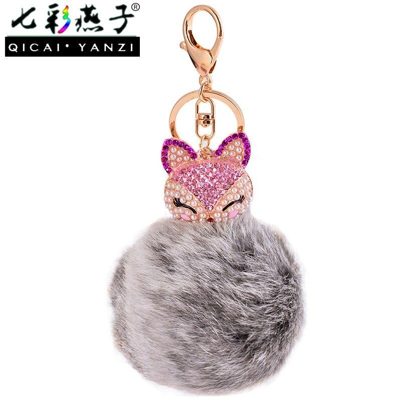 QICAI.YANZI Korea Fashion Fox Head Plush Bag Pendant Diamond Pearls Pompom Keychain Bags Parts Accessories Real Fox Fur R193 alphbet pompom fashion for car 12cm fluffy real fox fur pompon key ring keychain for bag accessory