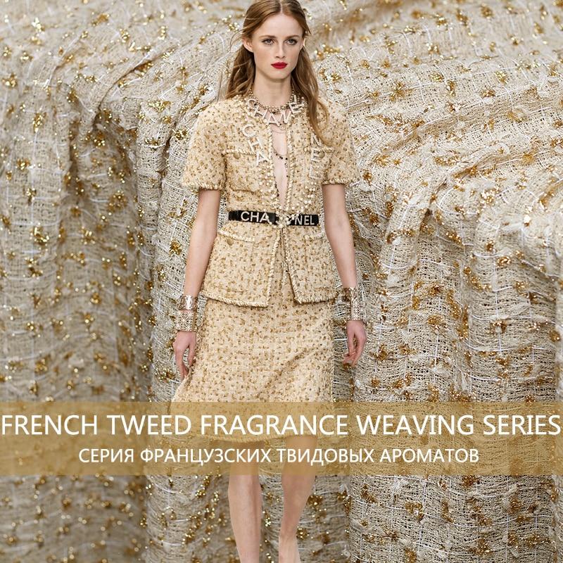 Pearlsilk France Tweed doré Style 100% Polyester vêtements matériaux printemps costume robe bricolage vêtements tissus livraison gratuite
