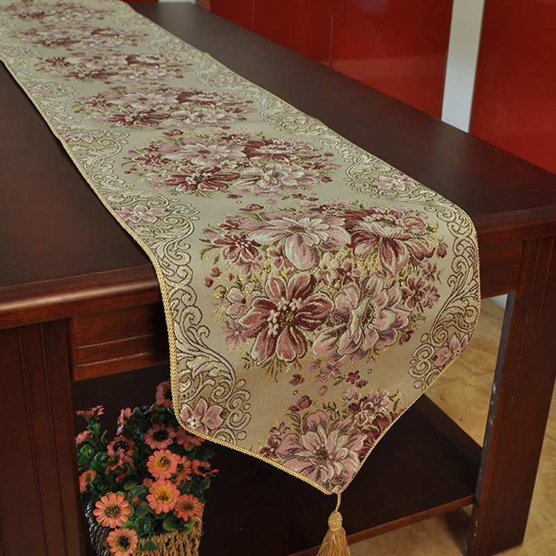 Bed Runner Luxury Embroidery Table Runner European Pastoral Style Table Runners TV Cabinet Table Runners for