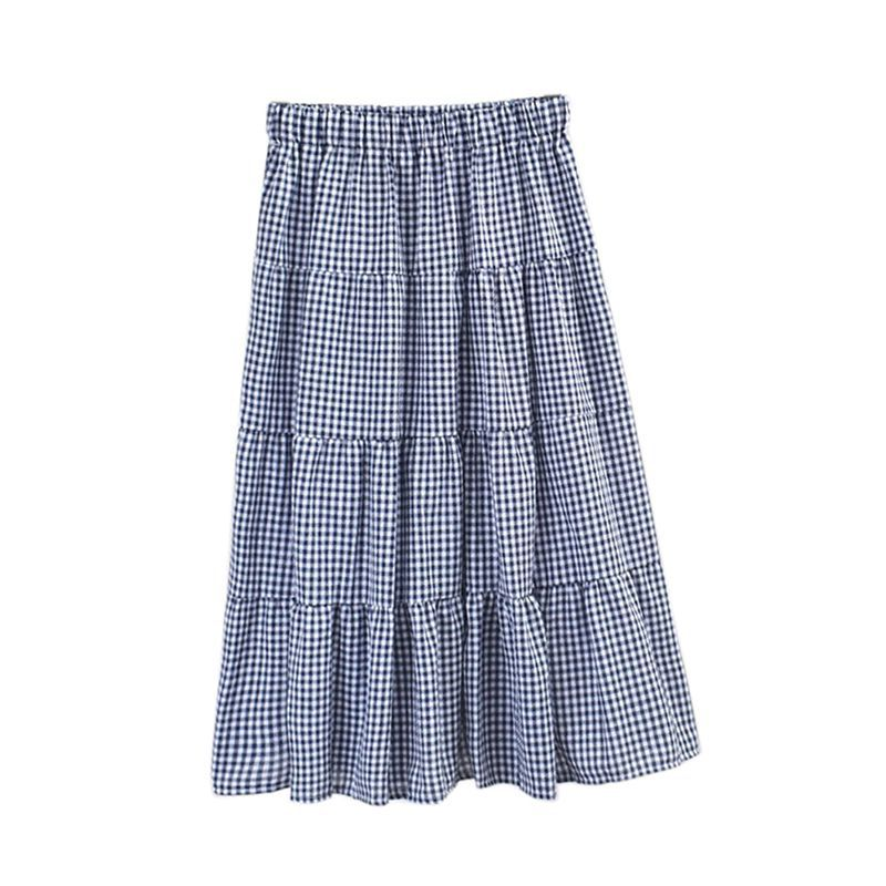 Spring Summer Fashion Plaid Skirt 2019 New Arrival Women Casual Patchwork Midi Skirt Female A Line Skirts Faldas Mujer