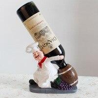 European Wine Rack Chef Figurines Wine Stand Red Wine Holder Whisky Wine Cabinet Decoration Bar Kitchen Shelf Decor Accessories